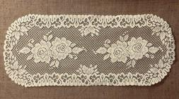 """Lace Table Runner Ivory Victorian Rose 15"""" x 36"""" Livingroom"""