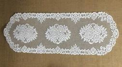 Lace Table Runner White Victorian Rose 14.5 x 54 Dining Room