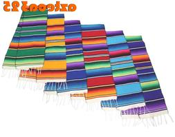"""Large Woven Mexican Sarape Zarape Table Runner 12"""" Wide 72"""""""