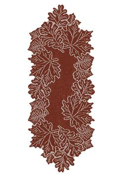 Heritage Lace Leaf 14-Inch by 36-Inch Runner, Dark Paprika