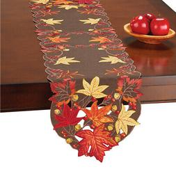 Maple Leaves and Berries Fall Embroidered Table Linens with