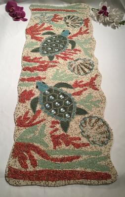 """NEW Coastal Tropical Turtle """" tortuga"""" amongst coral hand be"""