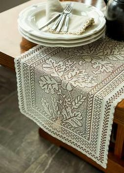 "Heritage Lace Oak Leaf Table Runner 14"" X 72"" Cafe"