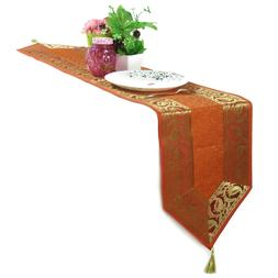 Orange Tablecloth Brocade Table Runner Dining Room Kitchen D