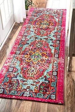 Oriental Vintage Distressed Abstract Runner Area Rug