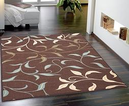 Ottomanson Ottohome Chocolate Leaves Area Rug