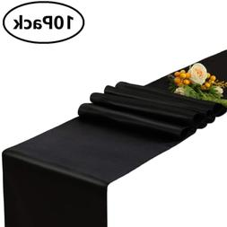 GFCC Pack of 10 Black Satin Table Runner 12 x 108 Inches for