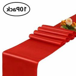 GFCC Pack of 10 Red Satin Table Runner 12 x 108 Inches for W