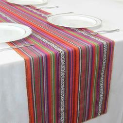 "GFCC Pack of 3 14""x108"" Mexican Blanket Hand-Woven Cotton Ta"