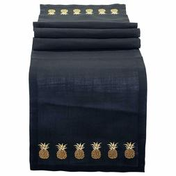 Pineapple Embroidered Black and Gold Accents 68 x 14 Inch Po