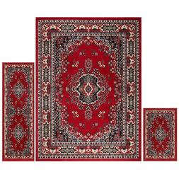 Throw Rugs Red 3 Piece Set For Living Room Bedroom Area Floo