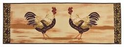 Rooster Design Beige Runner Rugs Country Style Non Skid Rug