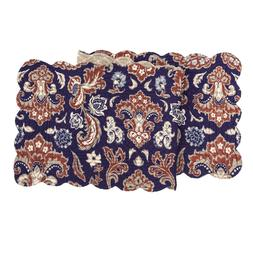 "ROSAMUND DAMASK Quilted Table Runner 51""L by C&F Home - Navy"