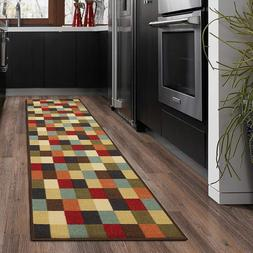 Runner Rug with Non-Slip Rubber Backing for Kitchens and Ent