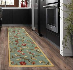 Ottomanson Sage Green Floral Runner Rug With Durable Non-Sli