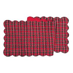 14X51 Inches Quilted SCALLOP RUNNER, RED PLAID