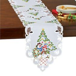 Collections Etc Snowman Couple Table Topper w/ Christmas Tre