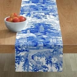 Table Runner Blue And White Chinoiserie Toile Willow Chinese