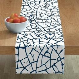 Table Runner Blue And White Crackle Powder Room Navy Cracked