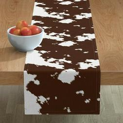 Table Runner Cow Print Hide Fur Rodeo Cowboy Country Western