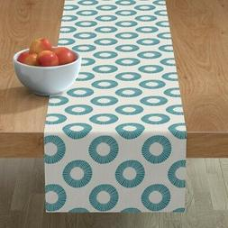 Table Runner Geometric Rings Abstract Blue Circle Turquoise