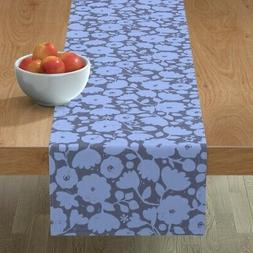 Table Runner Modern Blue Floral Flowers Shabby Chic Periwink