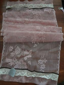 Heritage lace table runner or curtain panel Peony floral Cor