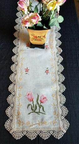 Table Runner w/ Embroidered English Rose & Antique European