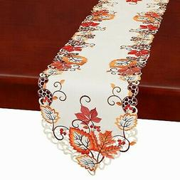 Simhomsen Thanksgiving Harvest Maple Leaves Table Runners, A