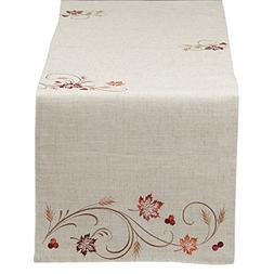"DII 14x70"" Polyester Table Runner, Embroidered Autumn Wheat"