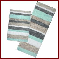 Thick Striped Bath Rugs For Bathroom Set Of 2 Non Slip Mats