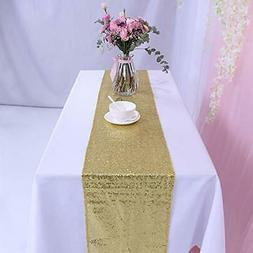 TRLYC 12x90-Inch Sparkly Gold Sequin Table runner for Weddin
