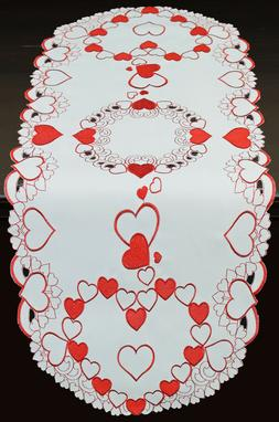 Creative Linens Valentine Red Hearts Placemats Table Cloth R