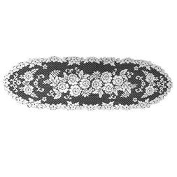Heritage Lace Victorian Rose 13-Inch by 45-Inch Runner, Whit
