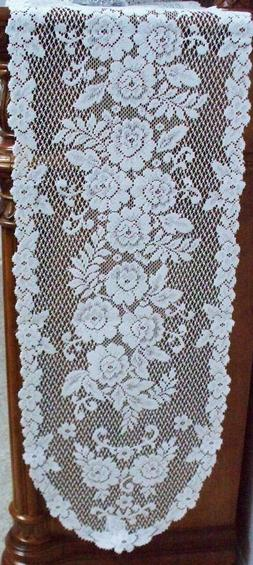 Victorian Rose White 13x72 Lace Table Runner Heritage Lace
