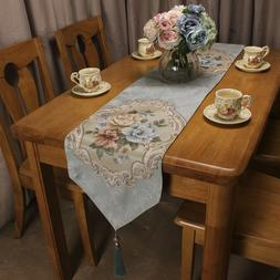 Vintage Luxury Jacquard Floral Table Runners for Home Weddin