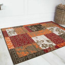 Warm Red Burnt Orange Floral Rugs Cosy Patchwork Family Area