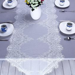 Wedding Deco Lace Table Runner White Vintage Floral Tableclo