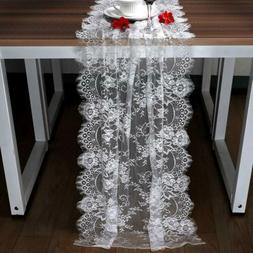 White Lace Table Runner Floral Table Cloth for Boho Wedding