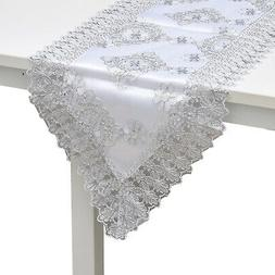 White Silver Floral Pattern Polyester Lace Decoration Dinnin