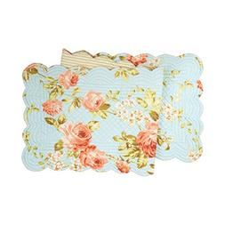 "Whitney Quilted Table Runner 51""L by C&F Home - Flowers - Bl"