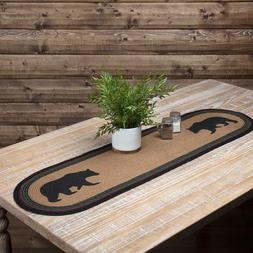 Wyatt Bear Stenciled Oval Jute Braided Country Cottage Table