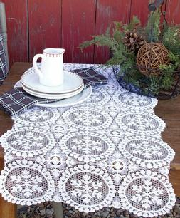 """Heritage Lace YULETIDE Christmas White 19""""x39"""" Table Runner"""